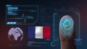 Système d'identification de balayage biométrique d'empreinte digitale Nationalité de la France illustration de vecteur