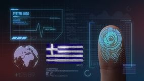 Système d'identification de balayage biométrique d'empreinte digitale Nationalité de la Grèce illustration de vecteur