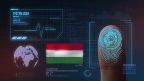 Système d'identification de balayage biométrique d'empreinte digitale Nationalité de la Hongrie illustration libre de droits