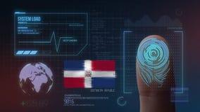 Système d'identification de balayage biométrique d'empreinte digitale Nationalité de la République Dominicaine  illustration de vecteur