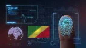 Système d'identification de balayage biométrique d'empreinte digitale Nationalité de la République du Congo illustration de vecteur