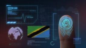 Système d'identification de balayage biométrique d'empreinte digitale Nationalité de la Tanzanie images libres de droits