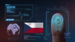 Système d'identification de balayage biométrique d'empreinte digitale Nationalité de République Tchèque illustration de vecteur