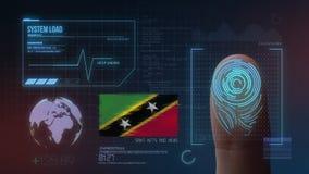 Système d'identification de balayage biométrique d'empreinte digitale Saint Kitts et nationalité du Niévès photographie stock