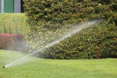 Système d'irrigation arrosant le jardin automatiquement Photographie stock