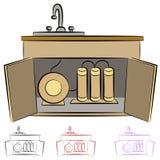 Système de filtration de l'eau de bassin de cuisine illustration de vecteur