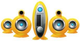 Système de haut-parleurs jaune de haute fidélité Photographie stock