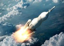 Système de lancement de l'espace volant au-dessus des nuages illustration stock