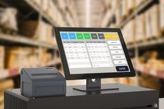 Système de point de vente pour la gestion de magasin images libres de droits