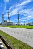 Système de pylône de l'électricité de tension de taille image libre de droits