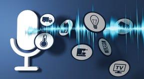 système de reconnaissance vocale de pictogramme du rendu 3d de la terre bleue Images stock