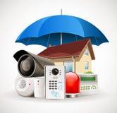 Système de sécurité à la maison - système de contrôle d'accès illustration stock