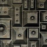 système de son grunge de haut-parleur de la composition 3d vieux Photos stock