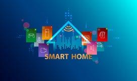 Système domestique intelligent Internet de concept de choses Fond futé de technologie photos stock