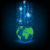 Système du monde sur le fond bleu-foncé Image stock
