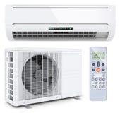 Système fendu de climatiseur avec le contrôleur à distance illustration stock