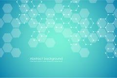 Système hexagonal abstrait de fond, génétique et de composés chimiques de molécule Graphiques géométriques et lignes reliées Photo stock