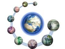 Système monétaire de la terre de planète? illustration de vecteur