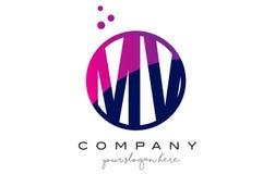 Système mv M V Circle Letter Logo Design avec Dots Bubbles pourpre Image libre de droits