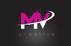 Système mv M V Creative Letters Design avec les couleurs roses blanches illustration libre de droits