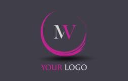 Système mv M V Letter Logo Design Photo stock