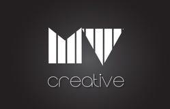Système mv M V Letter Logo Design With White et lignes noires Images stock