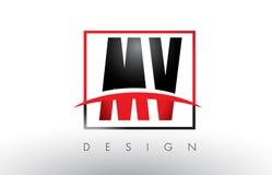 Système mv M V Logo Letters avec des couleurs et le bruissement rouges et noirs illustration libre de droits