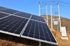 Système relié à une grille photovoltaïque de production d'électricité images stock