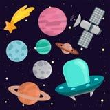 Système solaire de vaisseau spatial de planètes d'atterrissage de l'espace illustration de vecteur