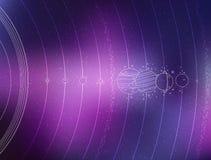 Système solaire - planètes, comète, satellite de l'illustration plate de planètes avec des dimensions comparatives Photos stock