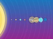 Système solaire - planètes, comète, satellite de l'illustration plate de planètes avec des dimensions comparatives Image stock
