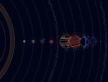 Système solaire - planètes, comète, satellite de l'illustration plate de planètes avec des dimensions comparatives Photos libres de droits