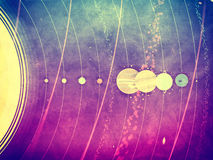 Système solaire - planètes, comète, satellite de l'illustration texturisée plate de planètes avec des dimensions comparatives Photo stock