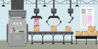 Système vide de bande de conveyeur avec des mains de robot pour la production en série Intérieur ou intérieur d'usine avec le sty