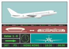 Systèmes d'affichage d'avion et d'information d'aéroport Photographie stock libre de droits