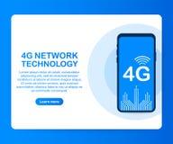 systèmes sans fil et Internet de réseau 4G Le réseau de transmission Illustration de vecteur illustration de vecteur