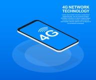 systèmes sans fil et Internet de réseau 4G Le réseau de transmission Illustration de vecteur illustration libre de droits
