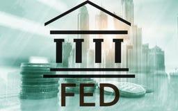 Syst?me de Federal Reserve - ALIMENT? Concept d'?conomie d'op?rations bancaires Fond de double exposition photos stock
