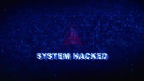 Systeem binnendrongen in een beveiligd computersysteem de krampglitch van het tekst digitale lawaai vervormingseffect foutenanima royalty-vrije illustratie