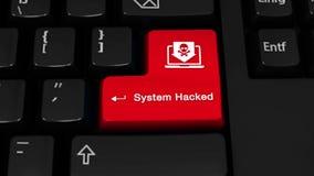 95 Systeem Binnendrongen in een beveiligd computersysteem Omwentelingsmotie op de Knoop van het Computertoetsenbord stock illustratie