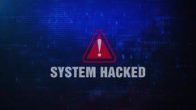 Systeem Binnendrongen in een beveiligd computersysteem Waakzame WaarschuwingsFoutenmelding die op het Scherm knipperen vector illustratie