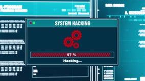 91 Systeem het binnendringen in een beveiligd computersysteem van het het Berichtsysteem van de Vooruitgangswaarschuwing het binn stock illustratie