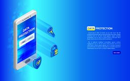Systeemprivacy 3D Cyber-concept van de veiligheidstechnologie Stock Afbeeldingen