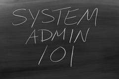 System Admin 101 auf einer Tafel Stockbild