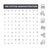 System administration editable line icons, 100 vector set, collection. System administration black outline illustrations vector illustration