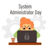 System Administrator Appreciation Day. Day of the system administrator. Cartoon, funny picture woman by your system administrator. Stock Royalty Free Stock Photo