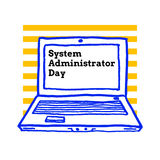 System Administrator Appreciation Day, July. 28 2017,  greeting card with laptop computer Stock Photography