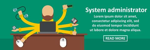 System administrator banner horizontal concept. Flat illustration of system administrator banner horizontal vector concept for web Stock Photography