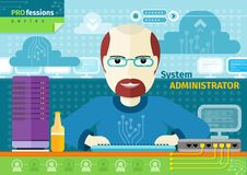 System administrator with computer in data centre. Profession concept with male system administrator on his workplace with computer in data centre Stock Photo