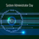System Administrator Day. 28 July. Abstract techno background. Letters consist of simulating chips. System Administrator Day. 28 July. The concept of a Royalty Free Illustration